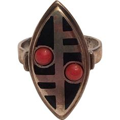 Vintage Art Deco Theodor Fahrner German 935 Silver Black Enamel & Red Coral Ring