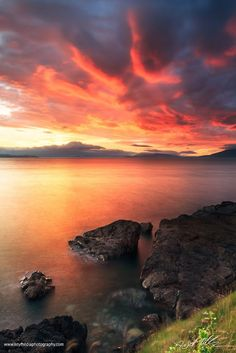 Google+ Kerstin Hellmann Shared publicly - 21 Jul 2014 Clew Bay on Fire  I haven't been out much lately, but I'm glad I drove the 2 miles to the coast for this glorious sunset.  _Carramore, Louisburgh, Co. Mayo, Ireland  #sunset #Ireland #photosofireland #seascapephotography