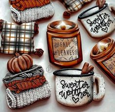 Fall Decorated Cookies, Fall Cookies, Iced Cookies, Cut Out Cookies, Cupcake Cookies, Sugar Cookies, Cookies Et Biscuits, Cupcakes, Cakepops