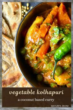 Not too fiery hot,an aromatic and flavourful mixed vegetable curry from the Kolhapuri Cuisine. Best served with roti, bhakri or parathas. #indiancuisine #indiancurry #curry #homemadecurry #maharashtriancuisine #vegetablecurry #homemadespicemixture #glutenfree #vegan