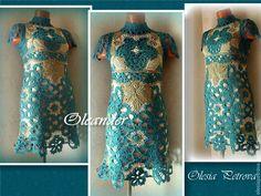 Купить Авторское платье Малахит - морская волна, платье, платье вязаное, Платье нарядное