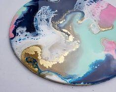 Fluid painting, fluid art, resin art, Natalie Muir, circle art, original art, modern art, home decor, wall art, mint and coral, wedding art