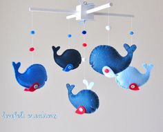 Baby Crib Mobile  Custom Baby Mobile  Whale Mobile by LoveFeltXoXo, $97.00