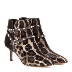 #valentino - rockstud leopard-print ankle boots