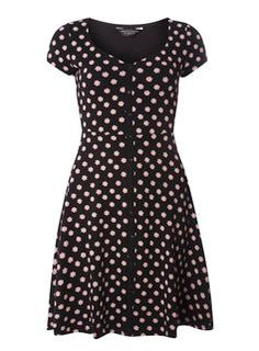 Black Ditsy Floral Button Dress