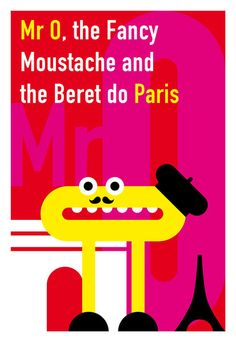 'Mister O, the Fancy Moustache and the Beret do Paris', art print by Krista de Groot  on artflakes.com