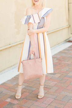 One Shoulder Ruffle Sundress In Stripe - Poor Little It Girl