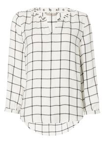 Cream Checked Eyelet Top