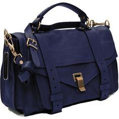 Proenza Schouler PS1 Medium Satchel (€1.415) ❤ liked on Polyvore featuring bags, handbags, purses, bolsas, accessories, borse, women, genuine leather purse, leather satchel handbags y blue satchel