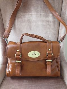 MULLBERRY Handbag $1760 Alexa Satchel Convertible XNICE Luggage Like Color Oak #Mulberry #Satchel