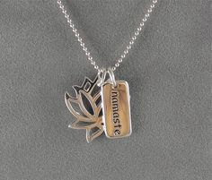 Lotus Namaste Necklace  Sterling  Yoga Jewelry by sunflowerjewelry, $36.00