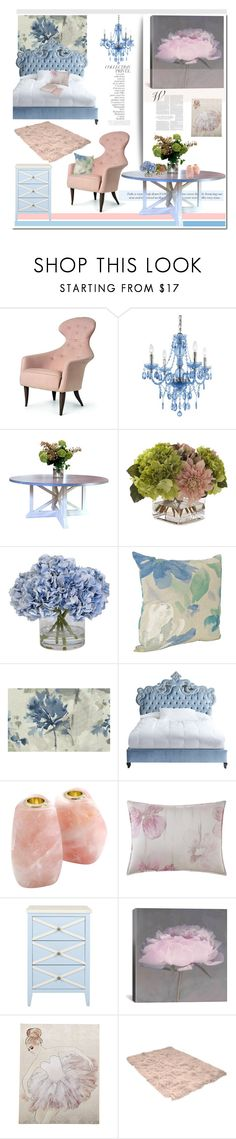 """""""Color Challenge: Pink and Blue'"""" by dianefantasy ❤ liked on Polyvore featuring interior, interiors, interior design, home, home decor, interior decorating, AF Lighting, John-Richard, Ethan Allen and Seabrook"""