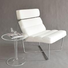 max chair - white soft vinyl lounge chair