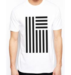 AptakisicTee Men's T-shirt Black White Striped Flag