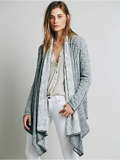 Excellent Condition Free People In the loop nubby knit cardigan Size medium Grey Marled waterfall french terry cardi with side pockets. Zipper accents on the sleeves. Bust: in Length: in Sleeve Length: in Drape Cardigan, Open Front Cardigan, Black Cardigan, Sweater Cardigan, Cardigan Fashion, Sweater Outfits, Waterfall Cardigan, New Outfits, Sweaters For Women