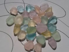 Beachen Pastels Aqua Pink Yellow Lavender Soft Mint Green Genuine Sea Glass Jq