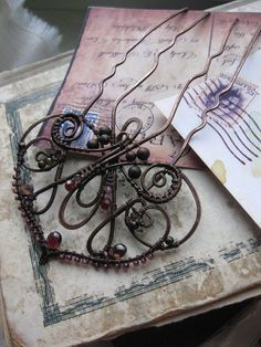 Hair comb - Copper Hair Comb - Metal Hair Fork Comb - Wire Wrapped Hair Accessories - Fairy -Art Nouveau - Nature Inspired - Antique