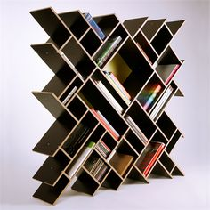 how cool is this? creative & abstract free standing bookcase / shelves - so awesome!!!!!