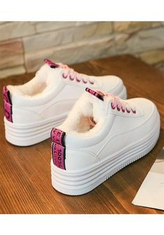 Pink Round Toe Flat Patchwork Casual Shoes Source by . Sneakers Mode, Sneakers Fashion, Fashion Shoes, Shoes Sneakers, Sneaker Outfits, Trendy Shoes, Casual Shoes, Kinds Of Shoes, Buy Shoes
