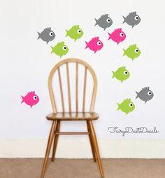 Fish Wall Decal Set of 12 New Design aquarium by FairyDustDecals