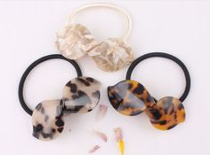 French style Luxury Cellulose Acetate Ribbon Elastic Ponytail Hair Holder