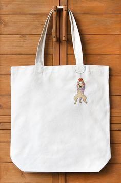 ぶらさがりワンコの刺繍トートバッグ