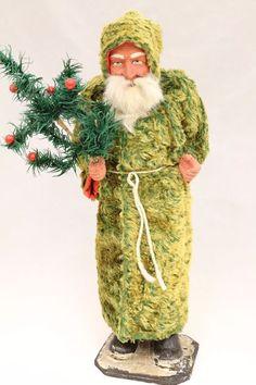 Santa Saint Nickolas 1920's Vintage German Christmas Candy Container Green Coat