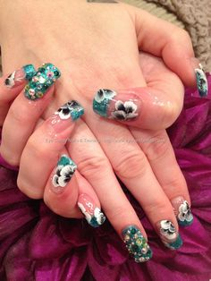 One stroke freehand flower nail art with teal glitter and Swarovski crystal nail art