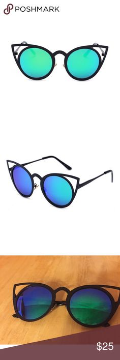Blue-Green Cat Eye Mirror Sunglasses Blue-Green Cat Eye Mirror Sunglasses with Black Frame. Brand New. Accessories Sunglasses