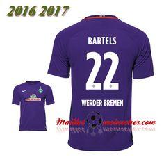 Les Nouveaux Maillot Werder Breme BARTELS 22 Exterieur Pourpre 2016 2017: fr-moinscher