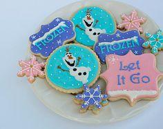 Frozen cookies, Olaf Cookies, Disney cookies, Frozen Birthday, Party Favors