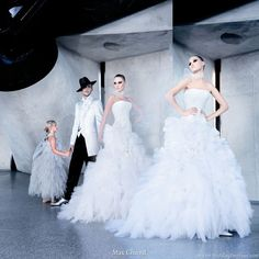 Max Chaoul Couture bridal collection 2010 - photo showing wedding gowns and suits for men and flower girl in a cute dress