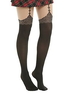 Blackheart Gothic Diamond Faux Garter Tights, BLACK