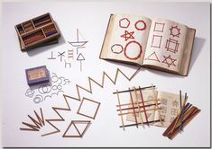 Linear Froebel gifts - 8 sticks,17 interlacing, 15 slatwork, 16 jointed slats, 9 rings. Norman Brosterman kindergarten collection.