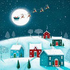 Julekort uden støtte. Motiv: Julemanden, julemand, julenat, snelandskab, firmajulekort, firma julekort, erhvervsjulekort, julekort til erhverv, julekort med logo, julekort, velgørenhedsjulekort, julekort med tryk