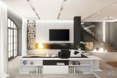 black and white living room - sofa with book shelves
