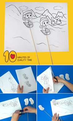 Fun in the Snow Craft - Grundschule Snow Crafts, Easy Arts And Crafts, Winter Crafts For Kids, Crafts To Do, Groundhog Day Activities, Fun Activities For Kids, Winter Art Projects, Projects For Kids, Painting For Kids