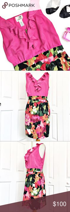 """Anthropologie Great Escape Floral Dress by Tabitha Beautiful Anthropologie dress by Tabitha.  Top of dress in pink with a ruffle v cut neckline and zipper.  Bottom has floral motif and slant pockets.  Elasticized at the back for shape.  Pullover styling with side zip.  Excellent condition.  Material tag has been listed.   Measurements laid flat: Bust: 20"""" Waist: 16"""" Hip: 21.5"""" Length from top shoulder to hem:  38"""" *Measurements are approximate. Anthropologie Dresses Midi"""