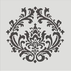 Stencil, Damask pattern 4.3, Flourish, Wall stencil, image is 8 x 8 inches. $10.95, via Etsy.