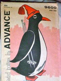 50s Penguin Pajama Bag Pattern Advance 9600 Percy the Penguin UNCUT