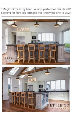 """""""Magic mirror in my hand, what goes perfect with this island?"""" Looking for fairy tale kitchen - this is truly the one to Love! Rustic kitchen with handmade wooden bars stools. This farmhouse kitchen will please everyone who likes wood accessories and cosy traditional style kitchen.   #kitchen #modernkitchen #kitchendesign #kitchendecor #kitchenideas #barstools #kettlecokitchens"""