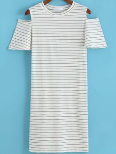 White Off the Shoulder Striped Tee Dress-SheIn
