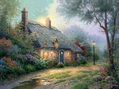 """In """"Moonlight Cottage"""", I celebrate the enchanting moment when the moon begins to appear above a sheltered cottage set within a forest. Beholding this scene as the sounds of the forest envelope you and the moist fragrance of evening fills your lungs would be a transcendent moment. I cannot imagine a more peaceful experience.  — Thomas Kinkade.  January 2001"""