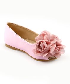Look at this The Doll Maker Pink Layered Flower Peep-Toe Flat on #zulily today!