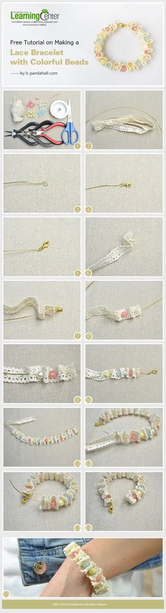 Learn how to make a lace bracelet with colorful beads. You can make a beaded lace bracelet within 10 minutes.
