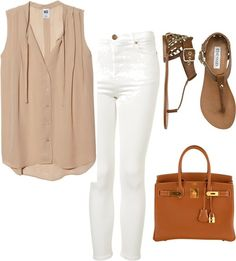 Flowy neutral + white skinnies Clothes  Outift for • teens • movies • girls • women •. summer • fall • spring • winter • outfit ideas • dates • parties Polyvore :) Catalina Christiano