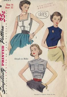 Sleeveless Blouse Pattern - Vintage Simplicity 3891 - Bust 36 by ErikawithaK on Etsy Simplicity Sewing Patterns, Vintage Sewing Patterns, Retro Fashion, Vintage Fashion, Patron Vintage, Blouse Patterns, Clothes Patterns, Blouse Vintage, Vintage Skirt
