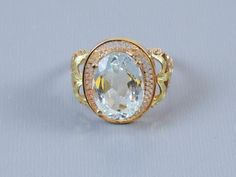 Antique Edwardian 10k tri color gold 3.67 ct aquamarine solitaire filigree fleur de lis cocktail ring, size 7-1/2