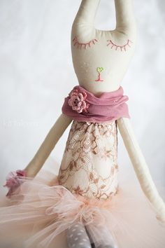 Leonore - shining light, Handmade Ballerina Rabbit Doll by Kotakura on Etsy