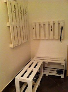 Coat hanger and a shoe rack #PalletBench, #PalletCoatHanger, #RecycledPallet